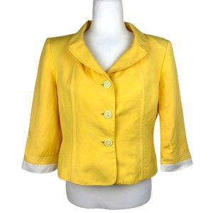 Le Suit Yellow Fitted Blazer Jacket Size 10P